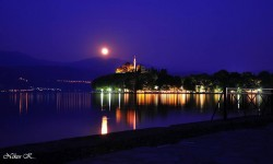 Ioannina: The mosque at night with a full moon.