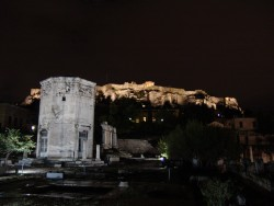 Athens, a view of the Acropolis at night.