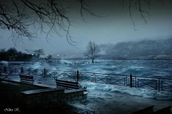 Ioannina, a stormy night.