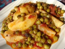 Potatoes and peas in tomato sauce – Cooking In Plain Greek