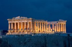 Athens, the Acropolis at night.