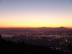 Dusk falling over Athens and Pireus.