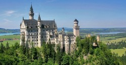 Southern Bavaria, Germany, Neuschwanstein, 19th century fairy tale castle.