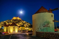 Astypalaia Island under a full moon.