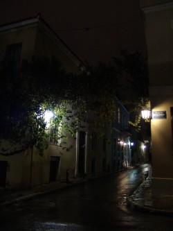 Athens, Plaka, narrow street at night after the rain.