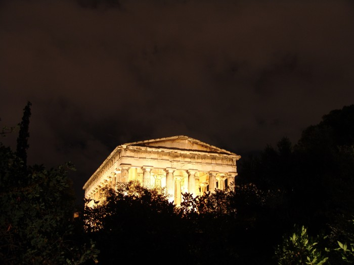 Athens, Thission, Temple of Hephaestus at night.