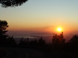 Sunset, Pireus in the distance from Mt. Hymittos.