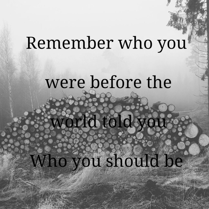 Remember who you are before the world told you who you should be